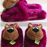 Licensed cool NEW Warner Bros. Scooby Doo Great Dane Dog Purple Adult plush OPEN Slippers S