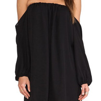 Black Off-Shoulder Long Sleeve Shift Dress
