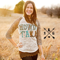 Howdy Y'all Turquoise with Leopard Lace Sleeves