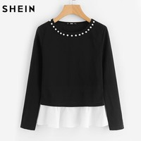 Pearl Beading Neck Contrast Trim Tops Black and White Color Block Top Long Sleeve Elegant T-shirt