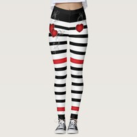 Red Hearts on Black and White Leggings