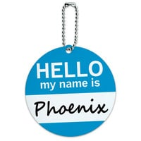 Phoenix Hello My Name Is Round ID Card Luggage Tag