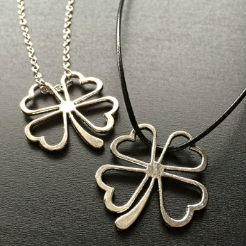 Lucky 4 Leaf Clover Charm Necklace- Braided Leather Shamrock Necklace Lucky Wish Charm St Patricks Necklace Pendant