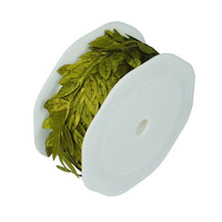 Polyester Leaves Garland Ribbon, 10-yard, Moss Green