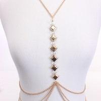 Gold Faceted Beaded Charm Dangle Stylish Body Chain