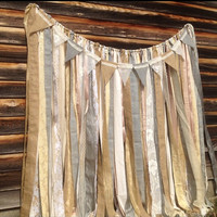 Burlap Ribbon Garland  Backdrop Sparkle Gold Burlap Gray Silver Champagne Nude TRENDING