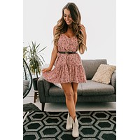 The Final Night Tiered Mini Dress (Mauve/Blush)