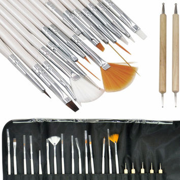 2017 Professional Nail Art 20PCS Design Dotting Painting Drawing Pen Makeup brushes set for Salon Manicure DIY tools Silver