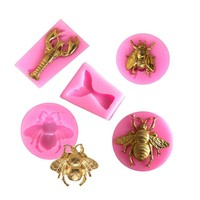 1PC Bee/Fish Tail Shaped Nail Art Pendant DIY Silicone Mold Dried Flower Jewelry Accessories Tools Equipments Resin Molds
