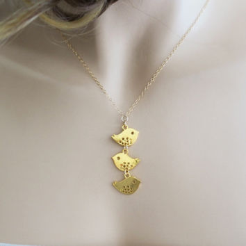 Mother Bird Necklace Family Jewelry Gold Birds Kids Love Charm Gift