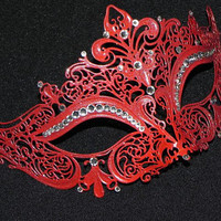 Red Masquerade Mask with Glitter Accents by TheCraftyChemist07
