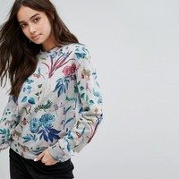 Ps By Paul Smith Grey Base Floral Sweat at asos.com
