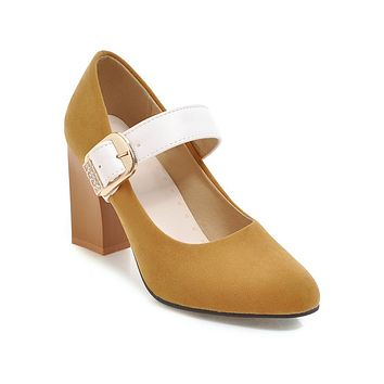 Woman Coarse Heel High Heeled Buckle Mary Janes