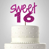 Sweet 16 glitter cake topper//birthday cake topper//party ideas//ships in 1-3 days//you pick your color