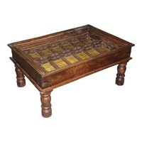 Antique Chai Table Arabic Calligraphy Brass Cladded Coffee Table