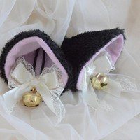 Black and ivory gold clip on cat ears with earrings - neko lolita cosplay costume - kitten play accessories