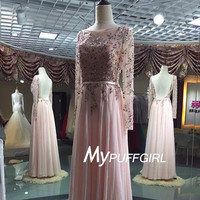 Sheer Long Sleeves Open Back Chiffon Prom Dress With Beaded Bodice