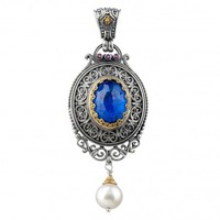 Gerochristo 3209N ~ Solid Gold & Sterling Silver Medieval Doublet Large Pendant with Lapis