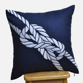 Knots Throw Pillow Cover, Decorative Pillow Cover, Navy Blue Linen with White Rope, Nautical Cushion, Navy Pillow, 18 x 18 Pillow Case