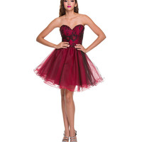 Red Tulle & Black Lace Strapless Dress Prom 2015