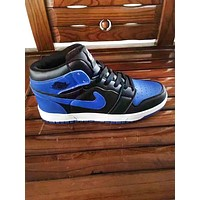 Bunchsun Nike Air Retro Jordan Blue Women Men Contrast High Top Shoes B-A-HYSM