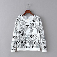 White Cartoon Print Sweater