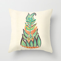 Tribal Feather Throw Pillow by Pom Graphic Design
