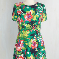 Mid-length Short Sleeves A-line Fete Among the Flowers Dress by ModCloth