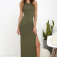 Shield and Sword Olive Green Sleeveless Maxi Dress