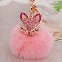 Fur PomPom Keychain Bag Cute Fox Keychains  Fashion 2016 Real Fox Fur Keyring Women Bag Accessories Pink Key Chain