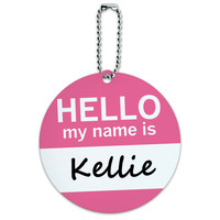 Kellie Hello My Name Is Round ID Card Luggage Tag