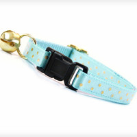 "Cat Collar - ""Fly Me To The Moon"" - Light Blue with Gold Polka Dots"