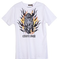 Roberto Cavalli Mens White Cotton Logo Lion Flame Graphic T Shirt