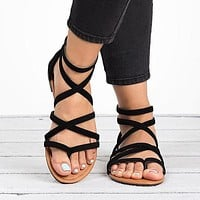 Women Sandals Fashion Gladiator Sandals For Women Shoes Female Flat Sandals Style Cross Tied Sandals Shoes Women