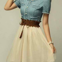 Blue Denim Chiffon Mini Dress With Belt