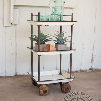 Numéro 2 Rolling Bar Cart with Enamel Trays and Wood Wheels