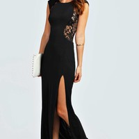 Maddie Lace Back Front Thigh Split Maxi Dress