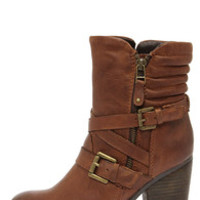 Steve Madden Raleighh Cognac Leather Ankle Boots