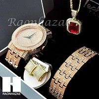 HIP HOP MEEK MILL LAB DIAMOND WATCH RUBY NECKLACE BRACELET EARRING S002