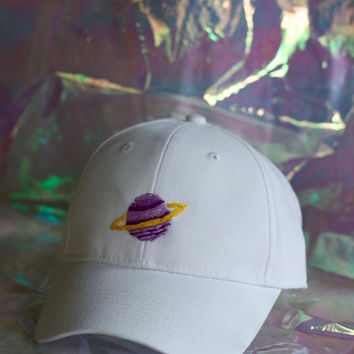 Embroidered Saturn Baseball Cap