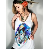 Stylish Women's Scoop Neck Horse Pattern Tank Top (WHITE,S) in Tank Top | DressLily.com