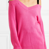 REDValentino - Cold-shoulder velvet-trimmed wool sweater