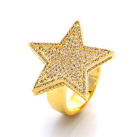 14K Gold 5-Pointed CZ Star Ring