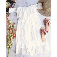 Reverse - Downtown Abby Off The Shoulder Embroidered Midi Lace Dress in White