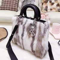 DIOR Autumn Winter High Quality Women Shopping Leather Fur Handbag Shoulder Bag Crossbody Satchel
