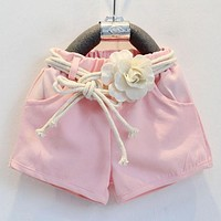 pink clothes set for girl clothing set suit with flower belt high quality children clothes kids baby clothes set