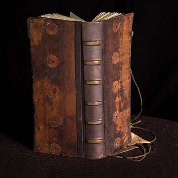 One of a Kind, Vintage Leather Journal / Blank Book, Artist Book, Orange Brown Leather - Branches