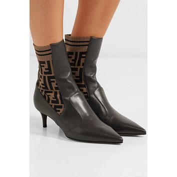 Fendi Rockoko Logo-jacquard Stretch-knit And Leather Ankle Boots #902