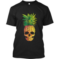 Pineapple Skull Aloha Beaches Hawaiian Hawaii Goth Custom Ultra Cotton