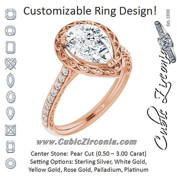 Cubic Zirconia Engagement Ring- The Montserrat  (Customizable Pear Cut Halo Design with Filigree and Accented Band)